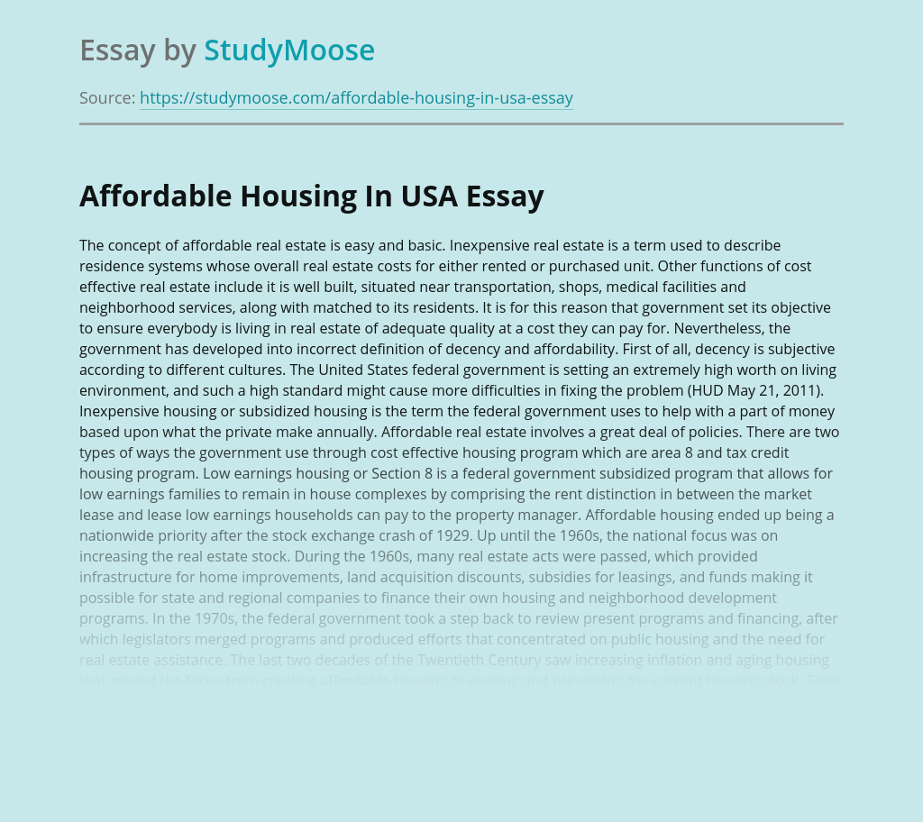 Affordable Housing In USA