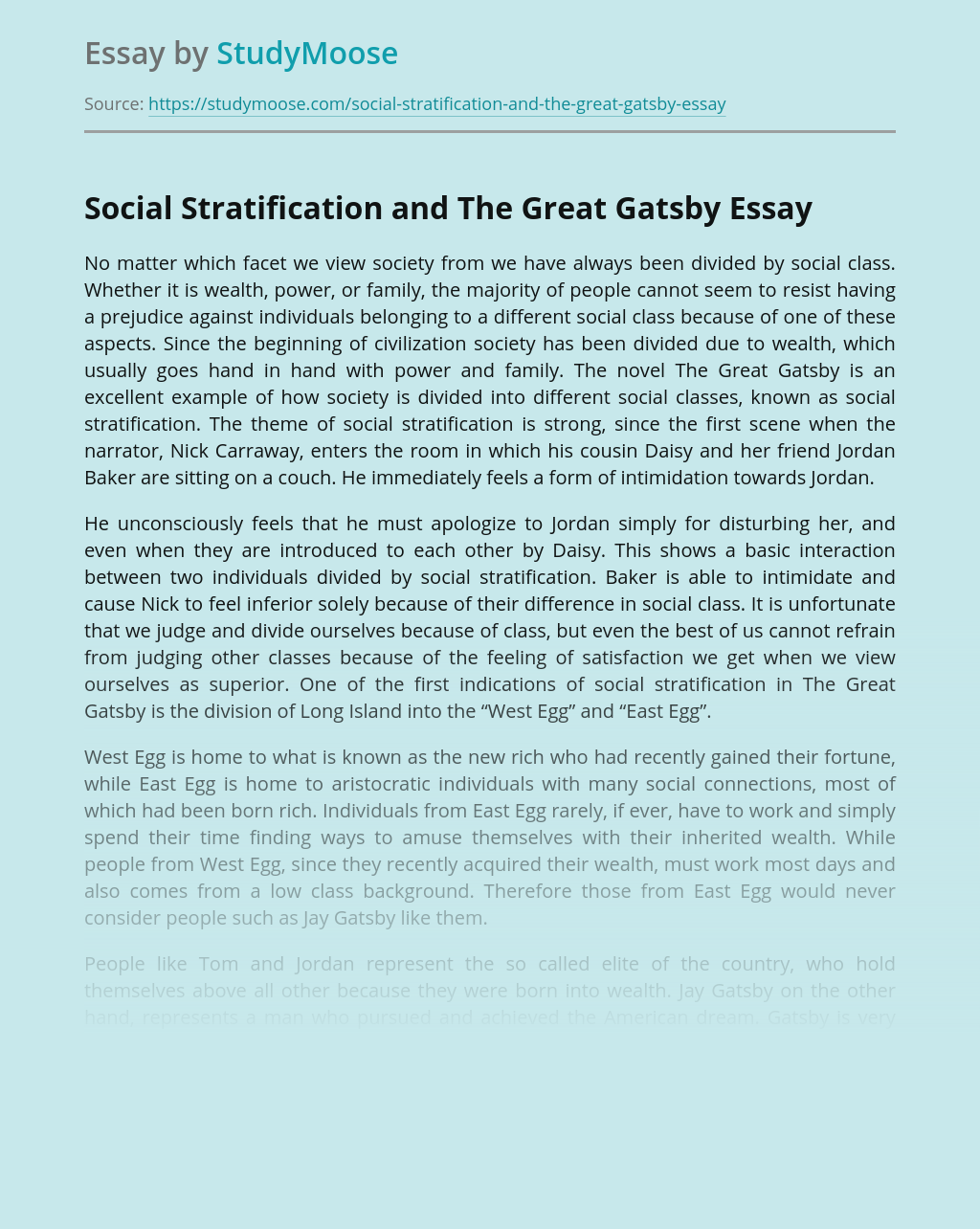 Social Stratification and The Great Gatsby