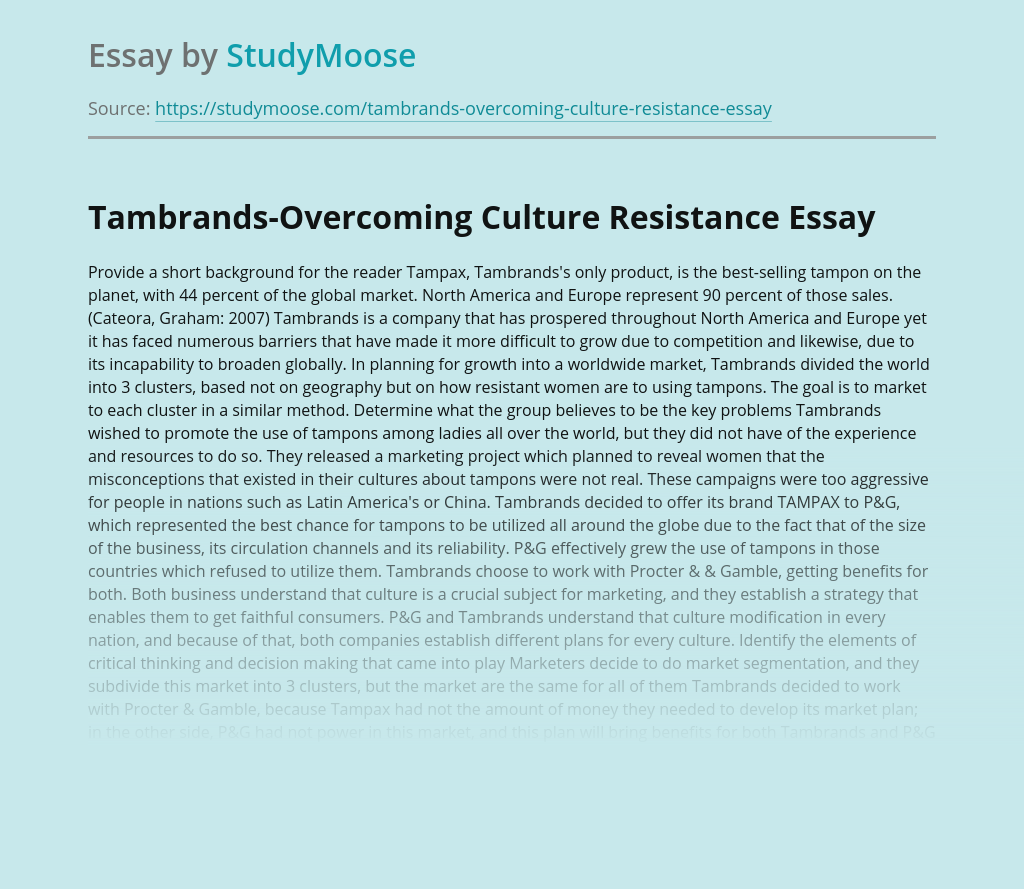 Tambrands-Overcoming Culture Resistance