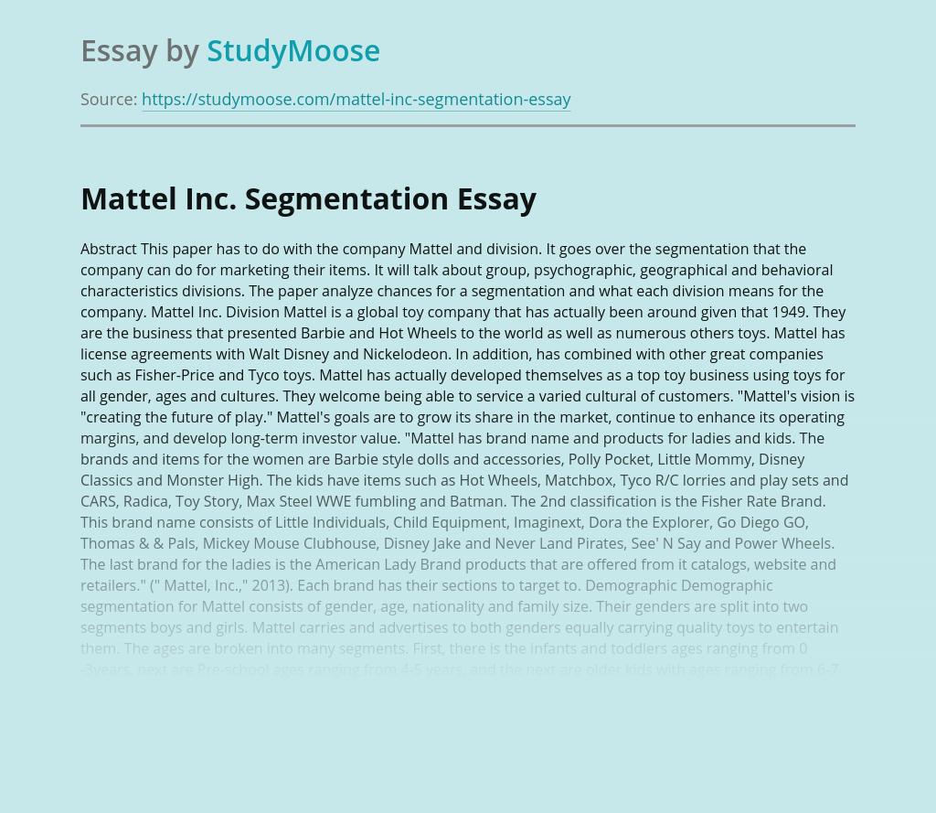 Segmentation for Marketing at Mattel Inc