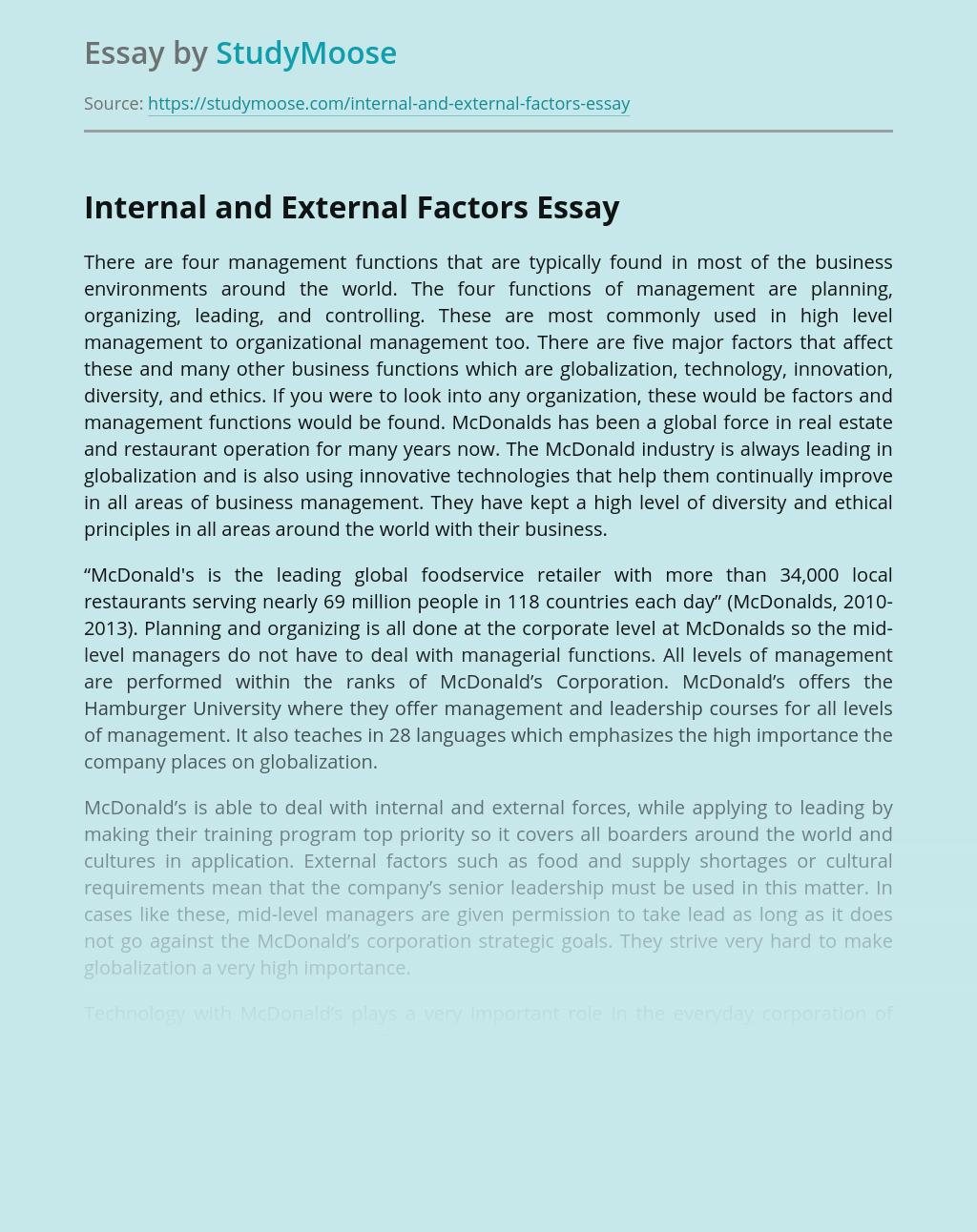 Internal and External Factors of McDonald's Management
