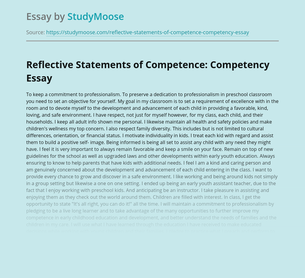 Reflective Statements of Competence: Competency