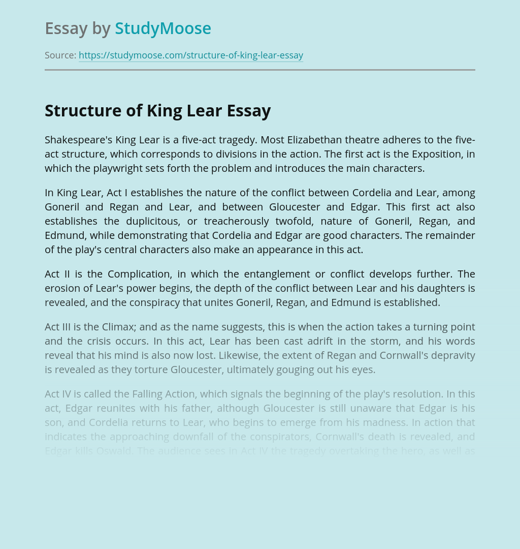 Structure of King Lear