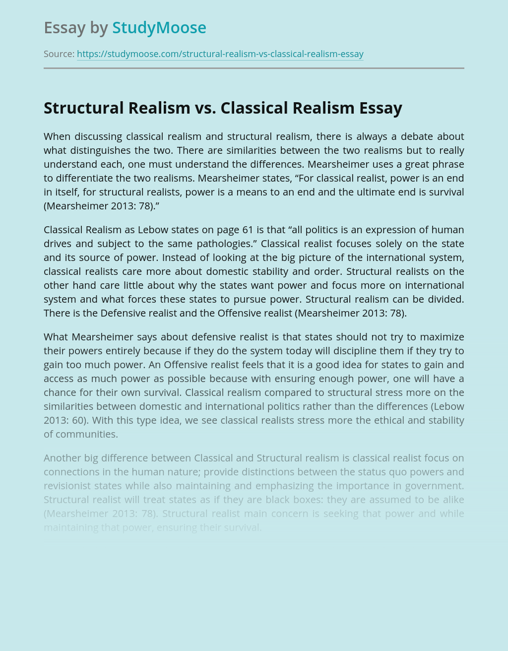 Structural Realism vs. Classical Realism