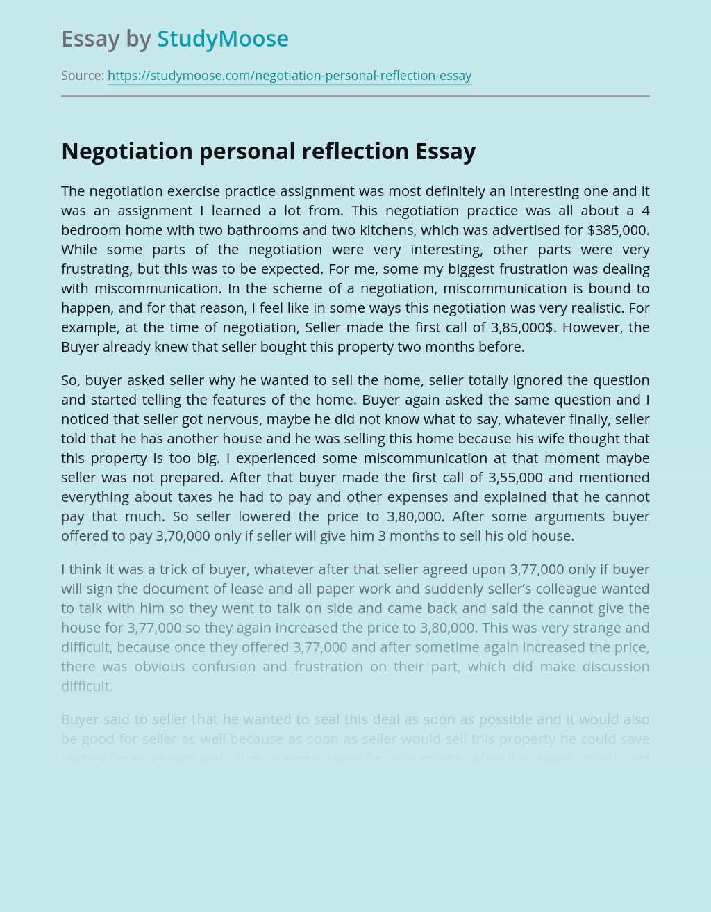 Negotiation personal reflection