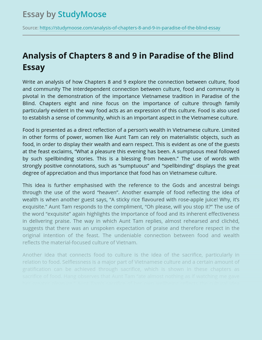 Analysis of Chapters 8 and 9 in Paradise of the Blind