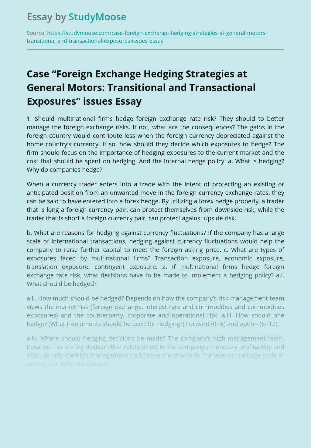 Foreign Exchange Hedging Strategies at General Motors: Transitional and Transactional Exposures