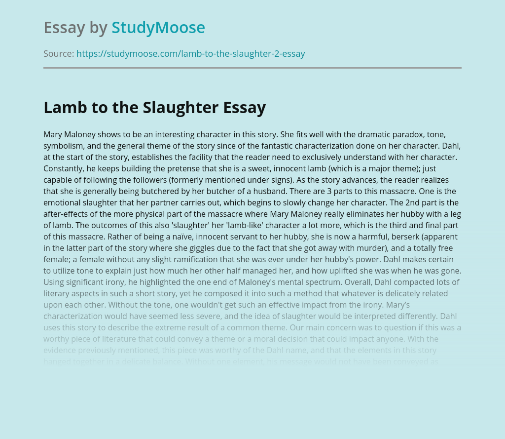 Lamb to the Slaughter by Mary Maloney