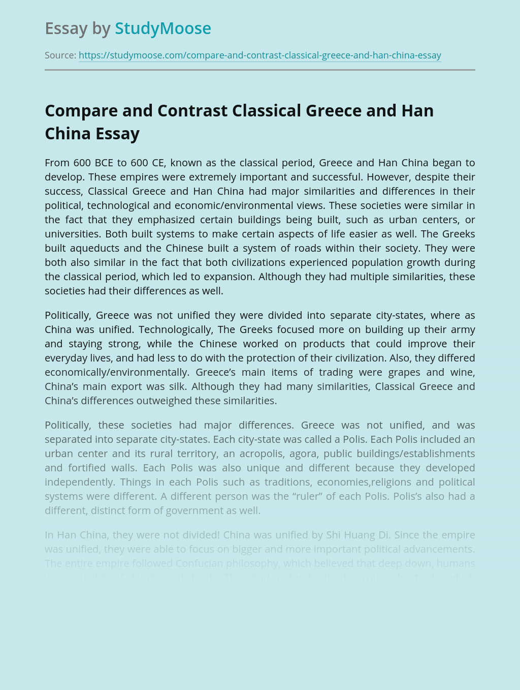 Compare and Contrast Classical Greece and Han China
