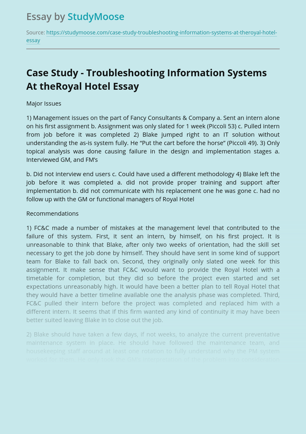 Case Study - Troubleshooting Information Systems At theRoyal Hotel