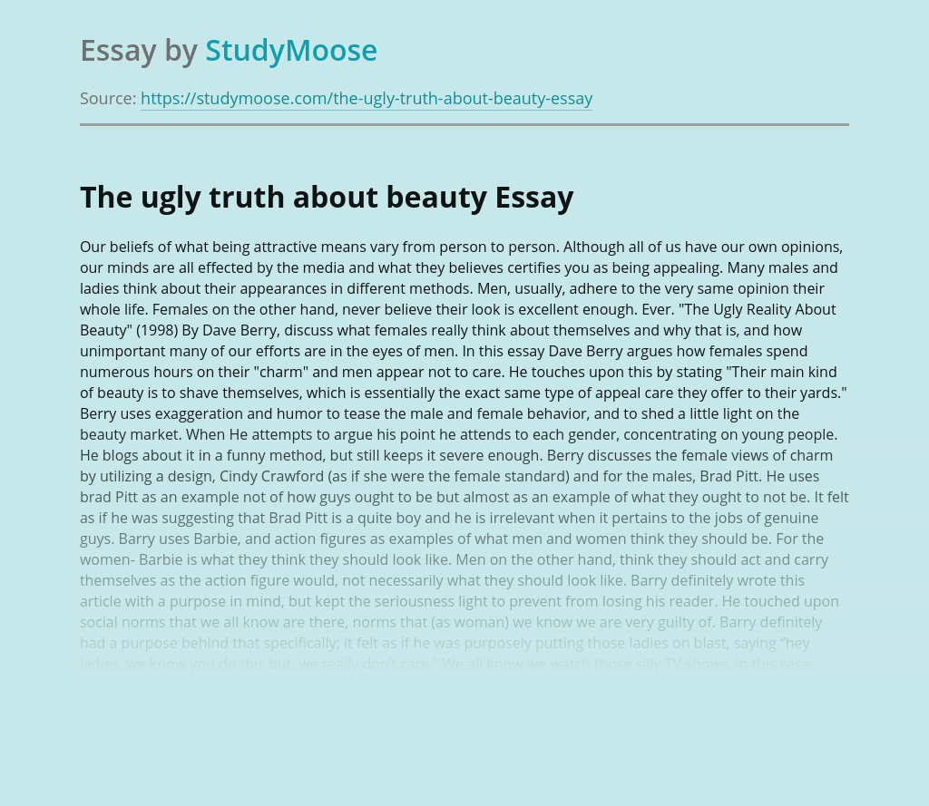 The ugly truth about beauty