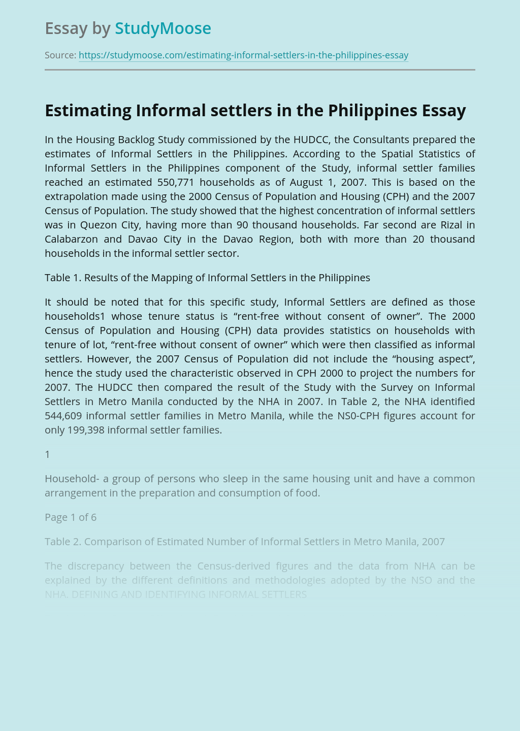 Estimating Informal settlers in the Philippines