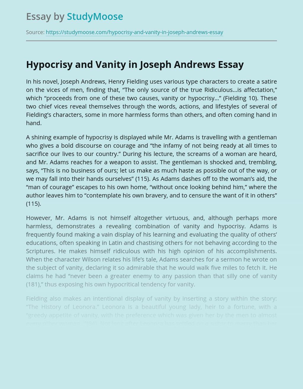 Hypocrisy and Vanity in Joseph Andrews