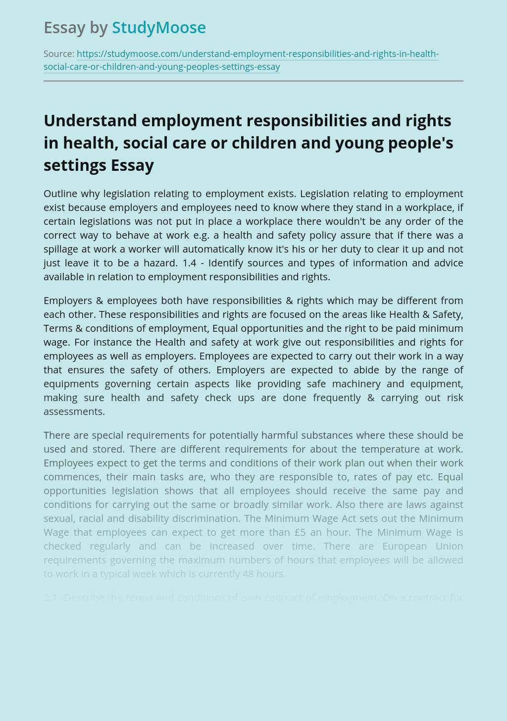 Understand employment responsibilities and rights in health, social care or children and young people's settings