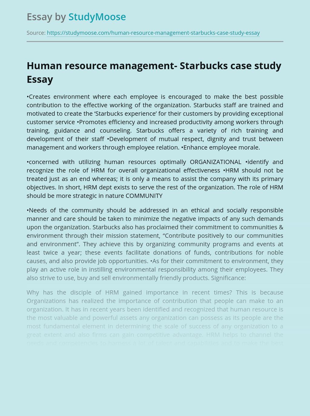 Human resource management- Starbucks case study