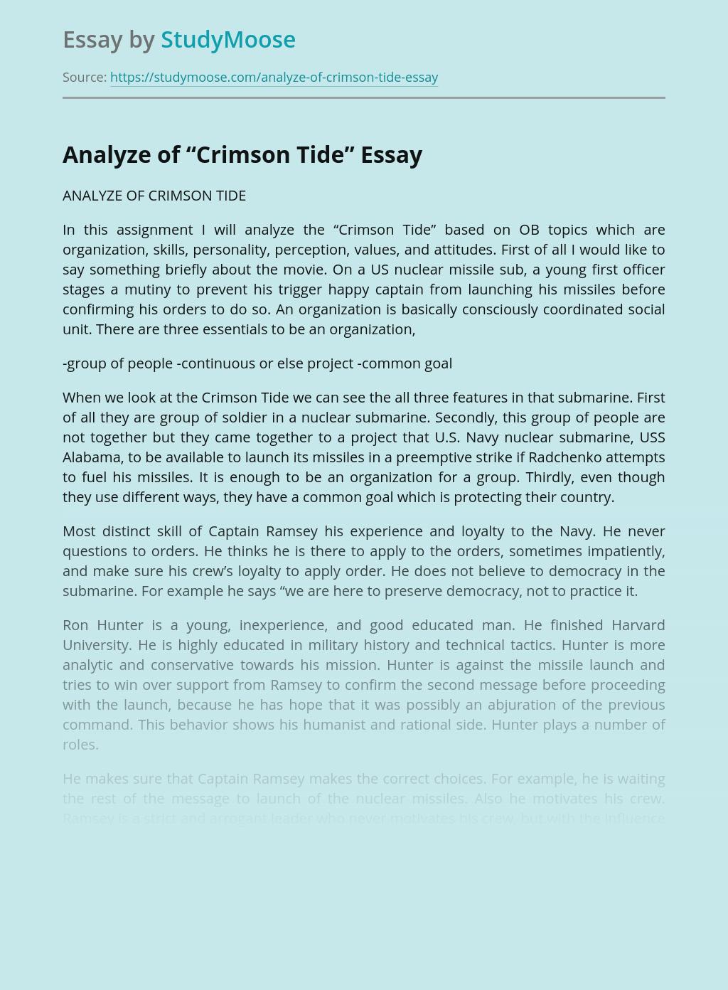 Big Five Personality Model of Crimson Tide