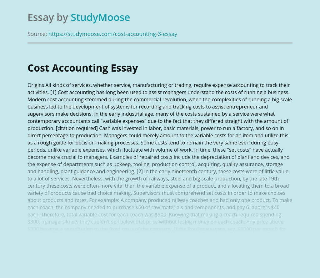 Facts about Cost Accounting