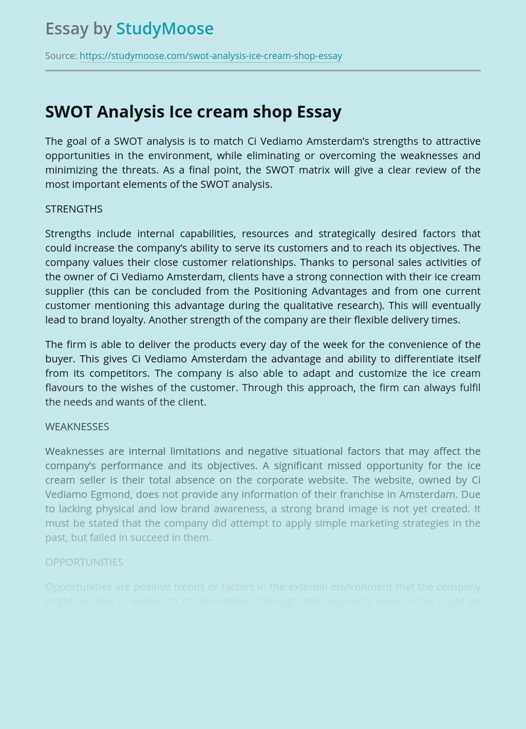 SWOT Analysis Ice cream shop