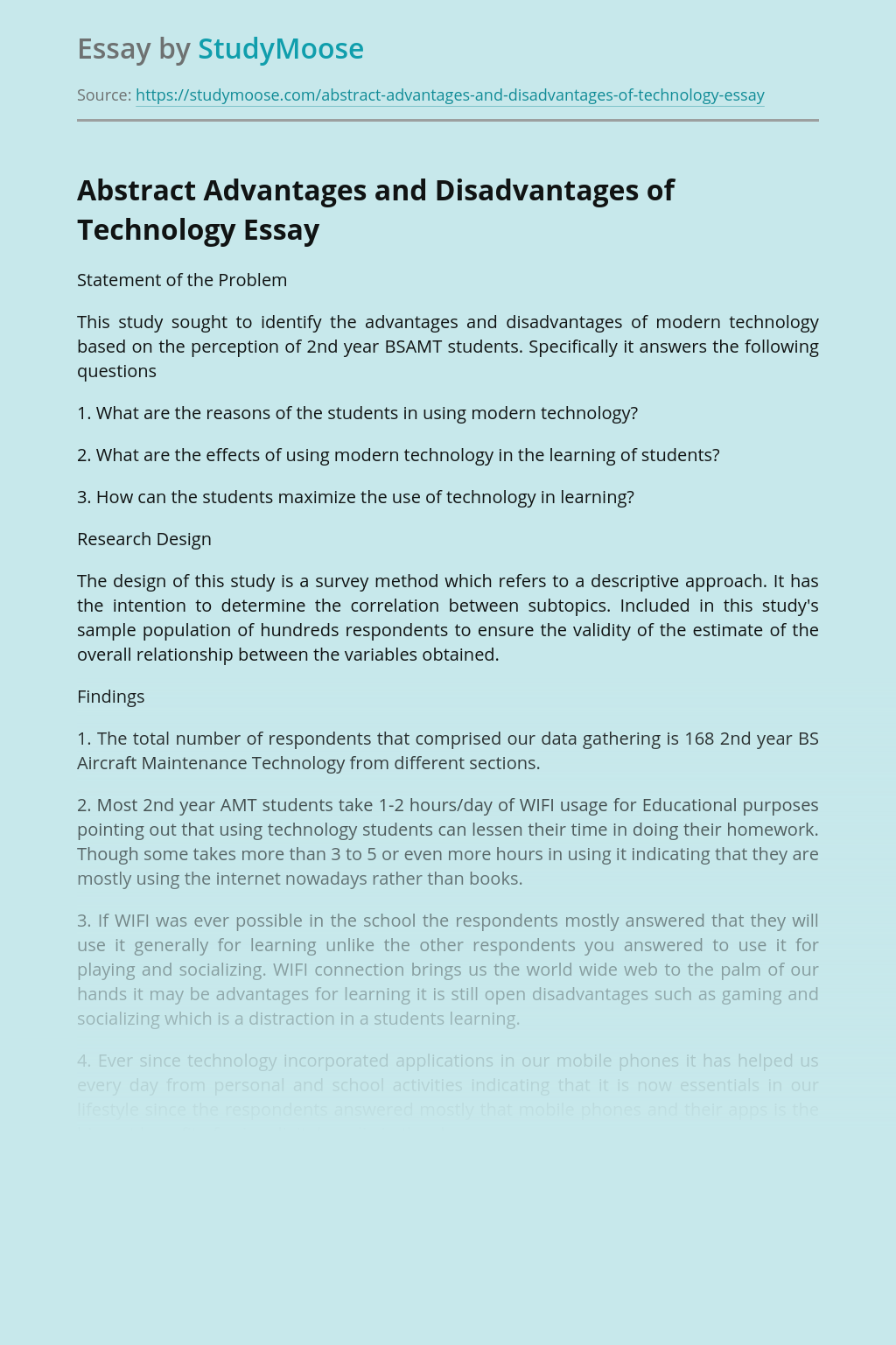 Abstract Advantages and Disadvantages of Technology