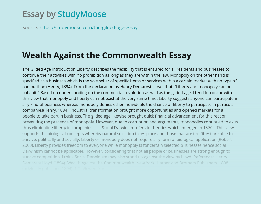 Wealth Against the Commonwealth According to Social Darwinism