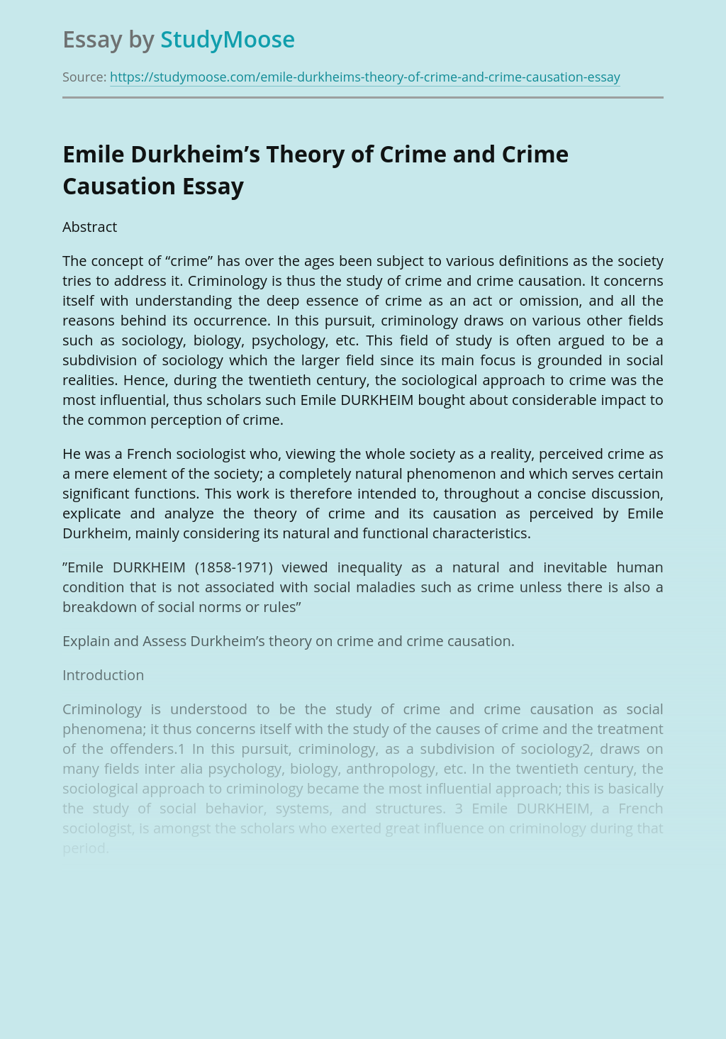 Emile Durkheim's Theory of Crime and Crime Causation