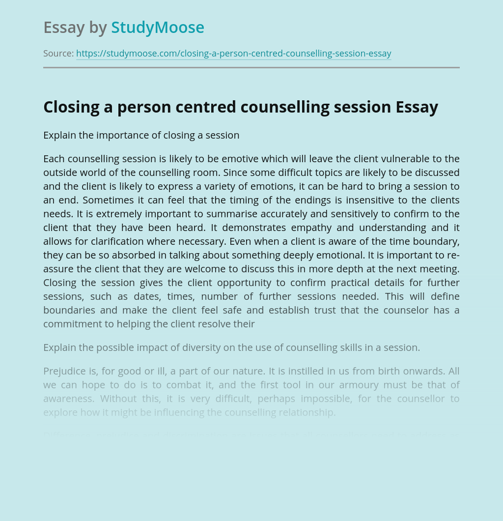 Closing a person centred counselling session