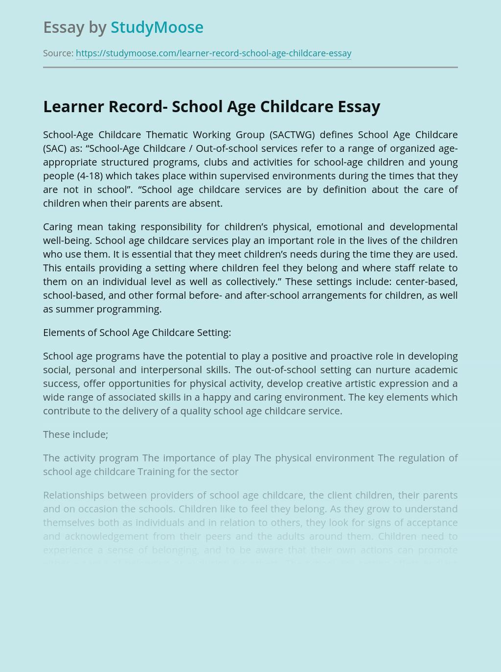 Learner Record- School Age Childcare