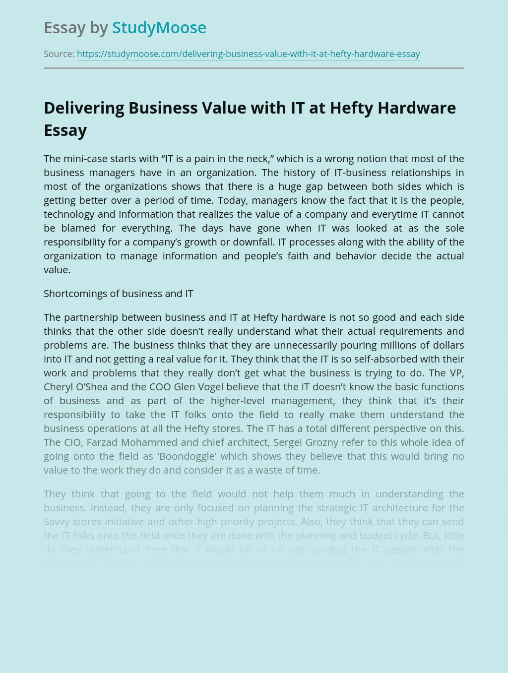Delivering Business Value with IT at Hefty Hardware