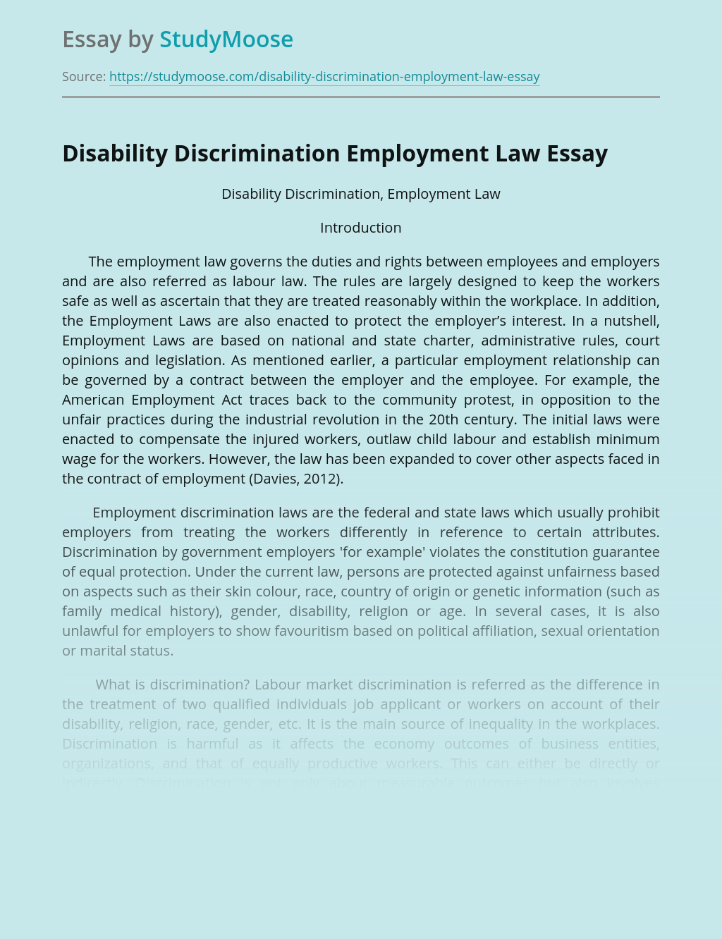Disability Discrimination Employment Law