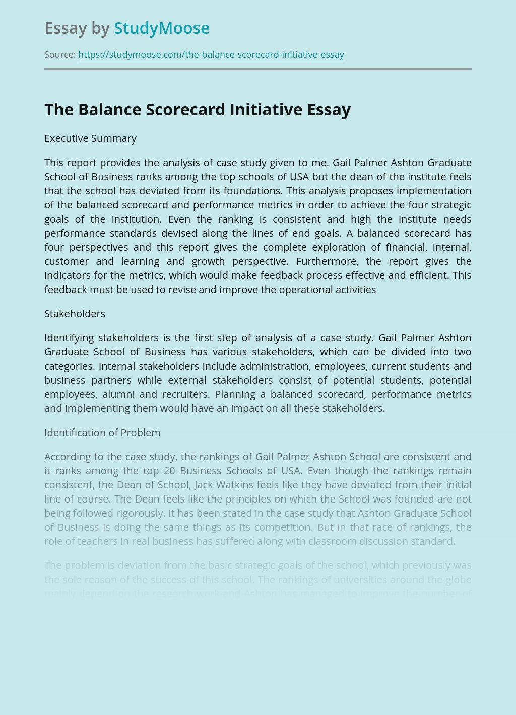 The Balance Scorecard Initiative