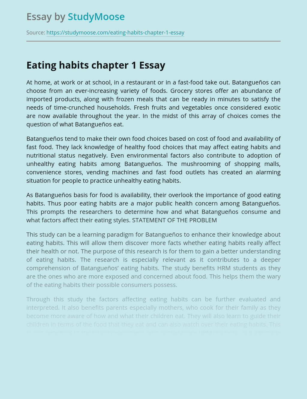 Eating Habits Chapter 1