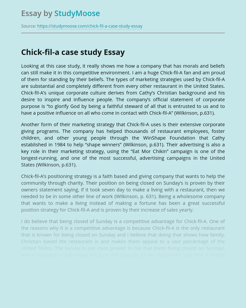 Chick-fil-a case study