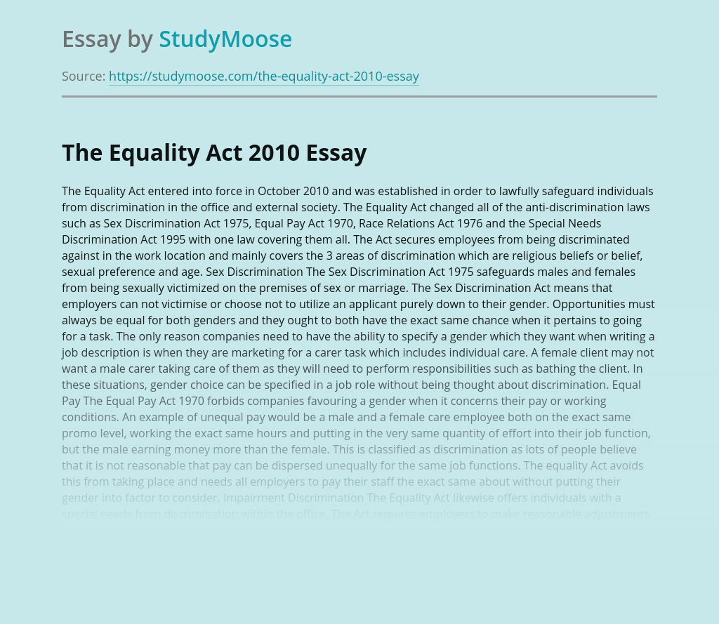 The Equality Act 2010