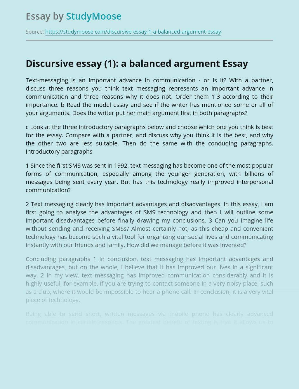 Discursive essay (1): a balanced argument