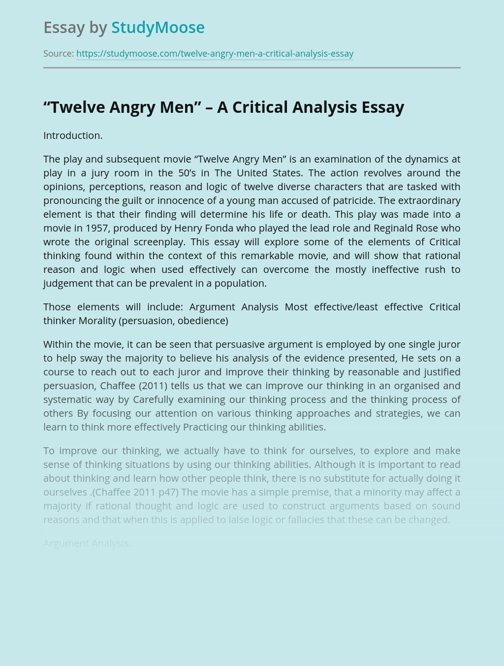 Critical Analysis of Twelve Angry Men Movie