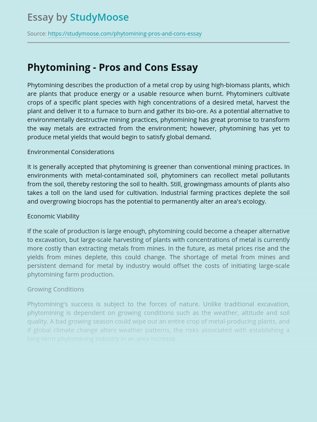 Phytomining Pros and Cons for Environment and Economy