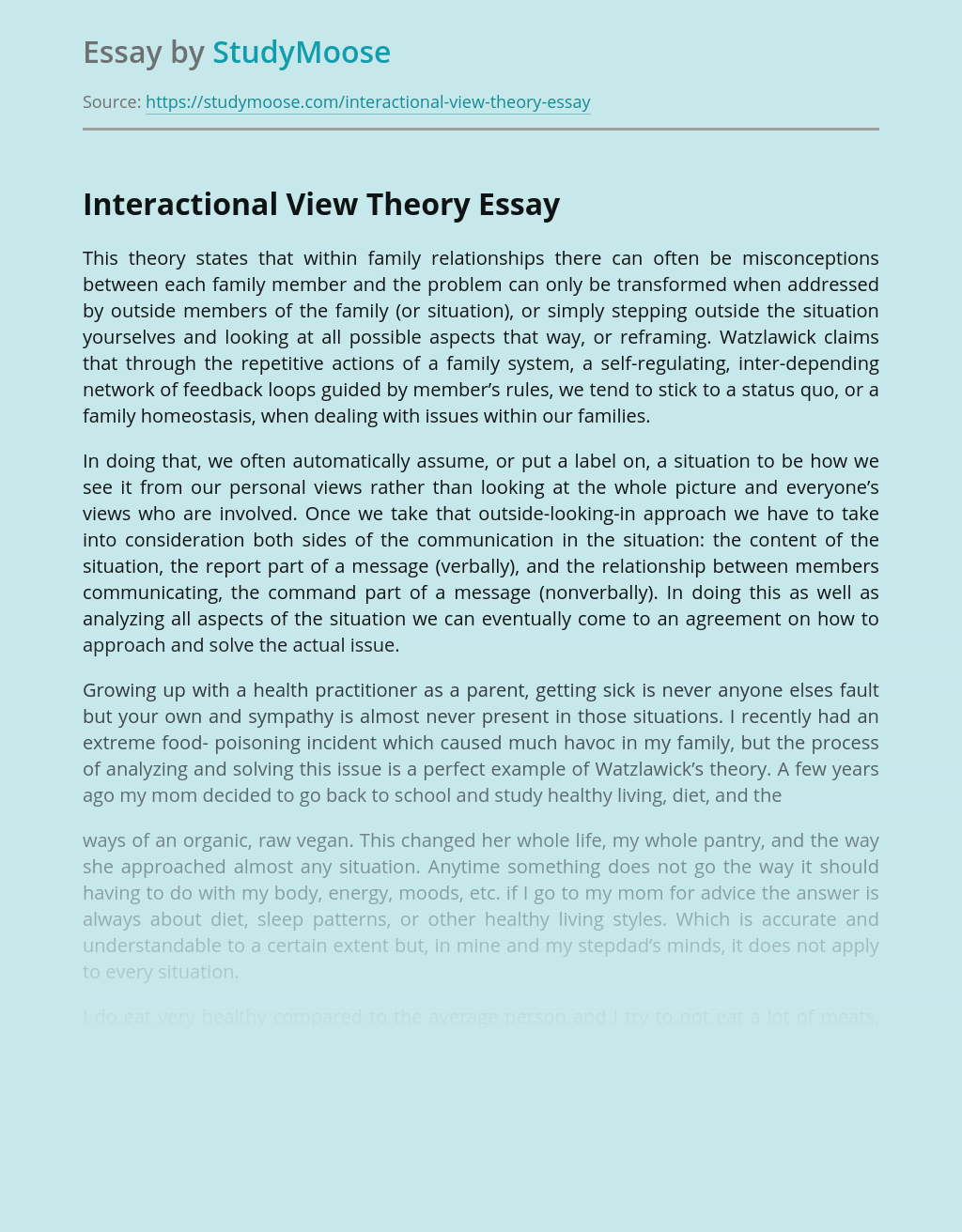 Interactional View Theory and My Family Relationships