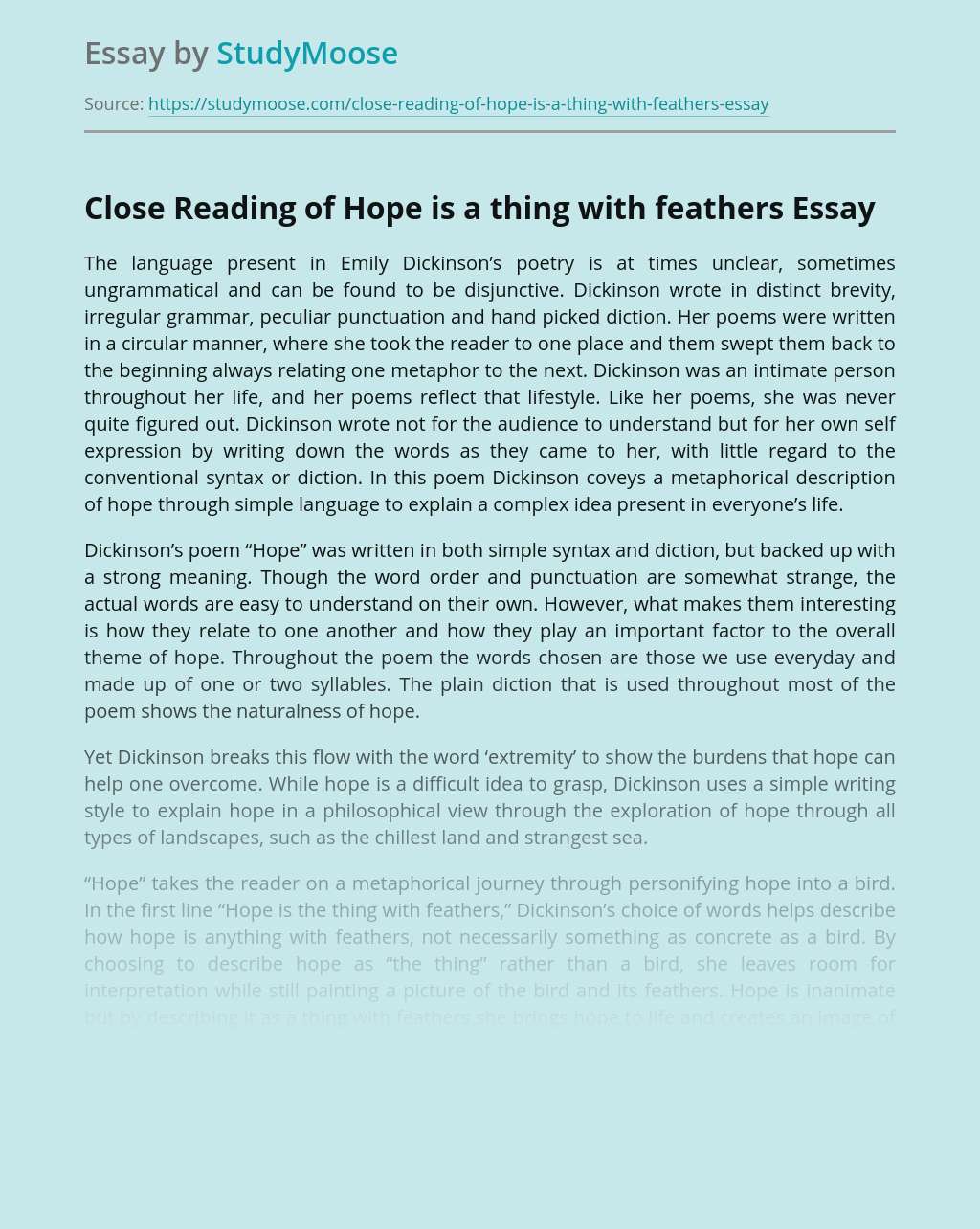 Close Reading of Hope is a thing with feathers