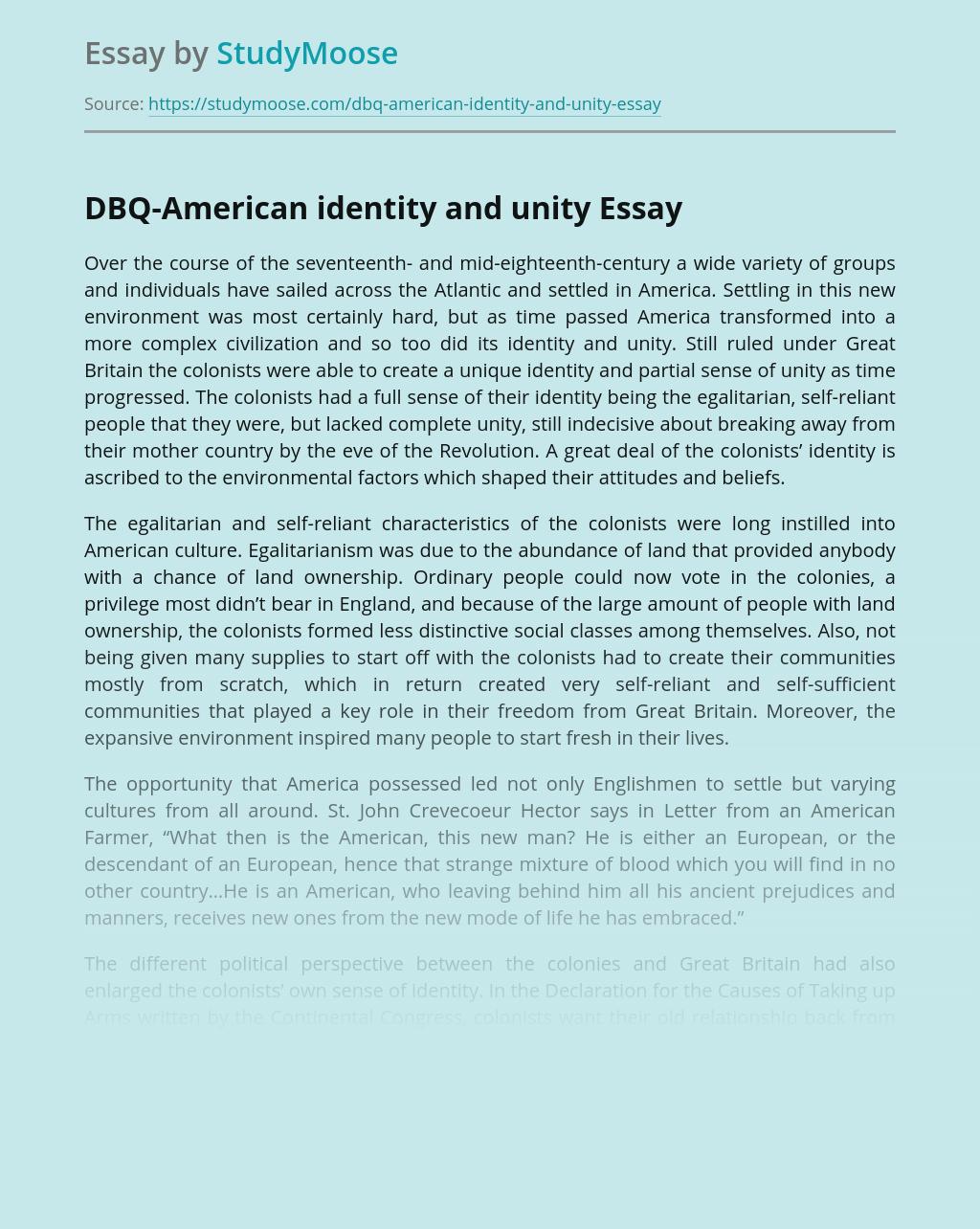 DBQ-American identity and unity