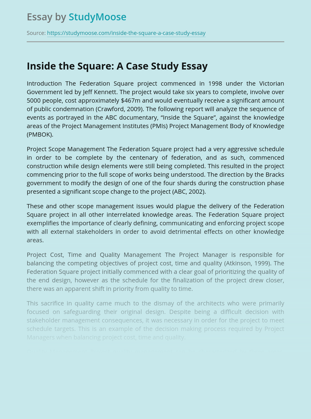 Inside the Square: A Case Study