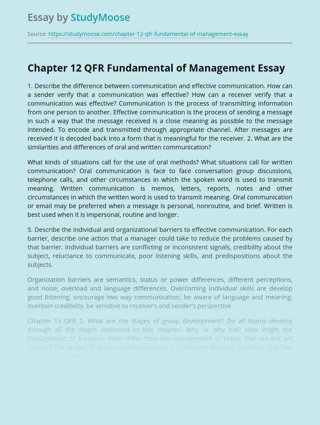 Chapter 12 QFR Fundamental of Management