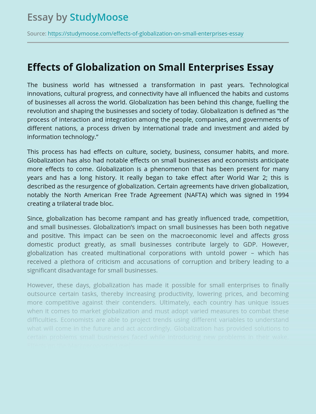 Effects of Globalization on Small Enterprises