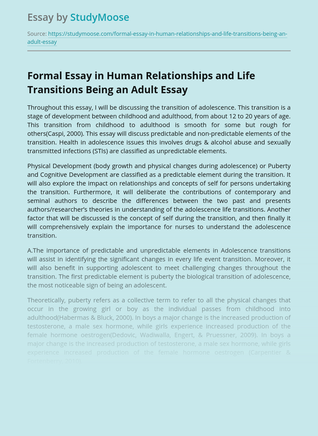 Formal Essay in Human Relationships and Life Transitions Being an Adult