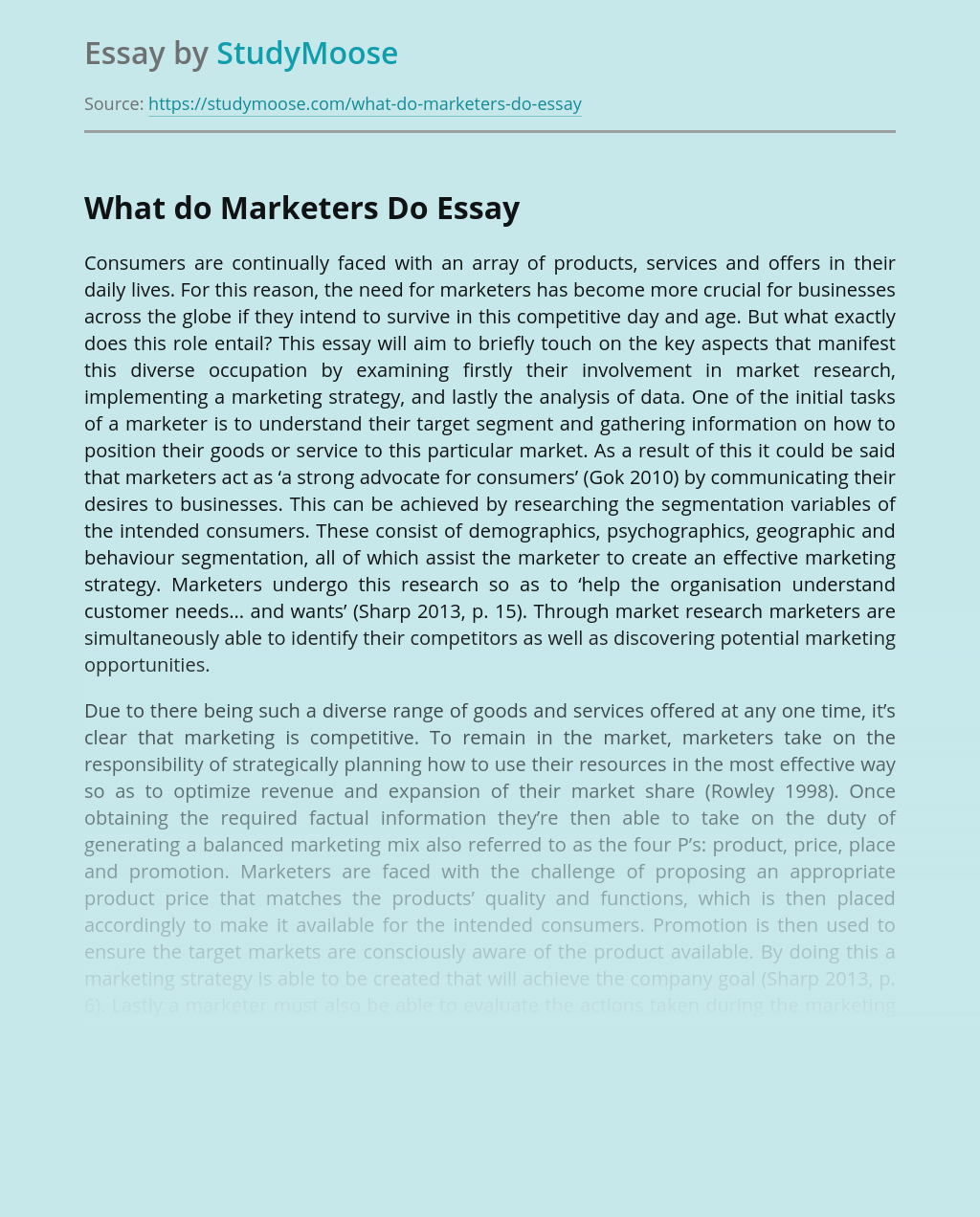 What Do Marketers Do