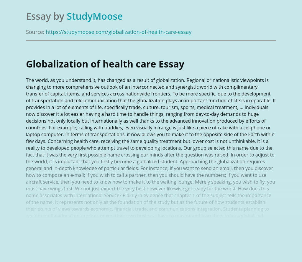 Globalization of health care