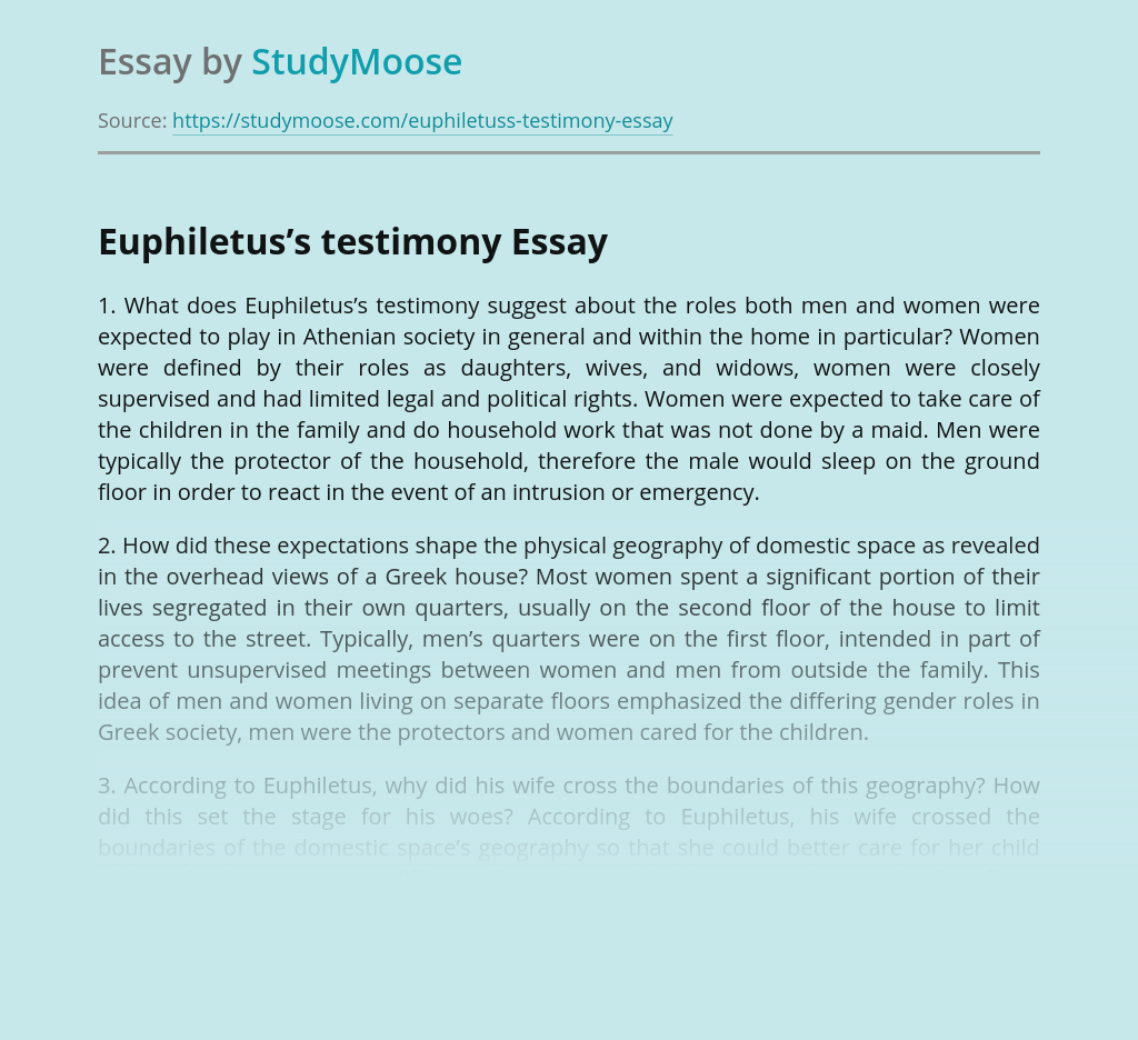 Euphiletus's testimony