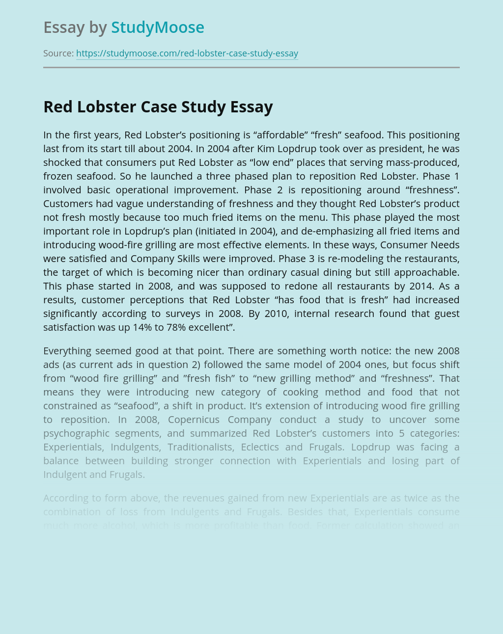 Red Lobster Case Study