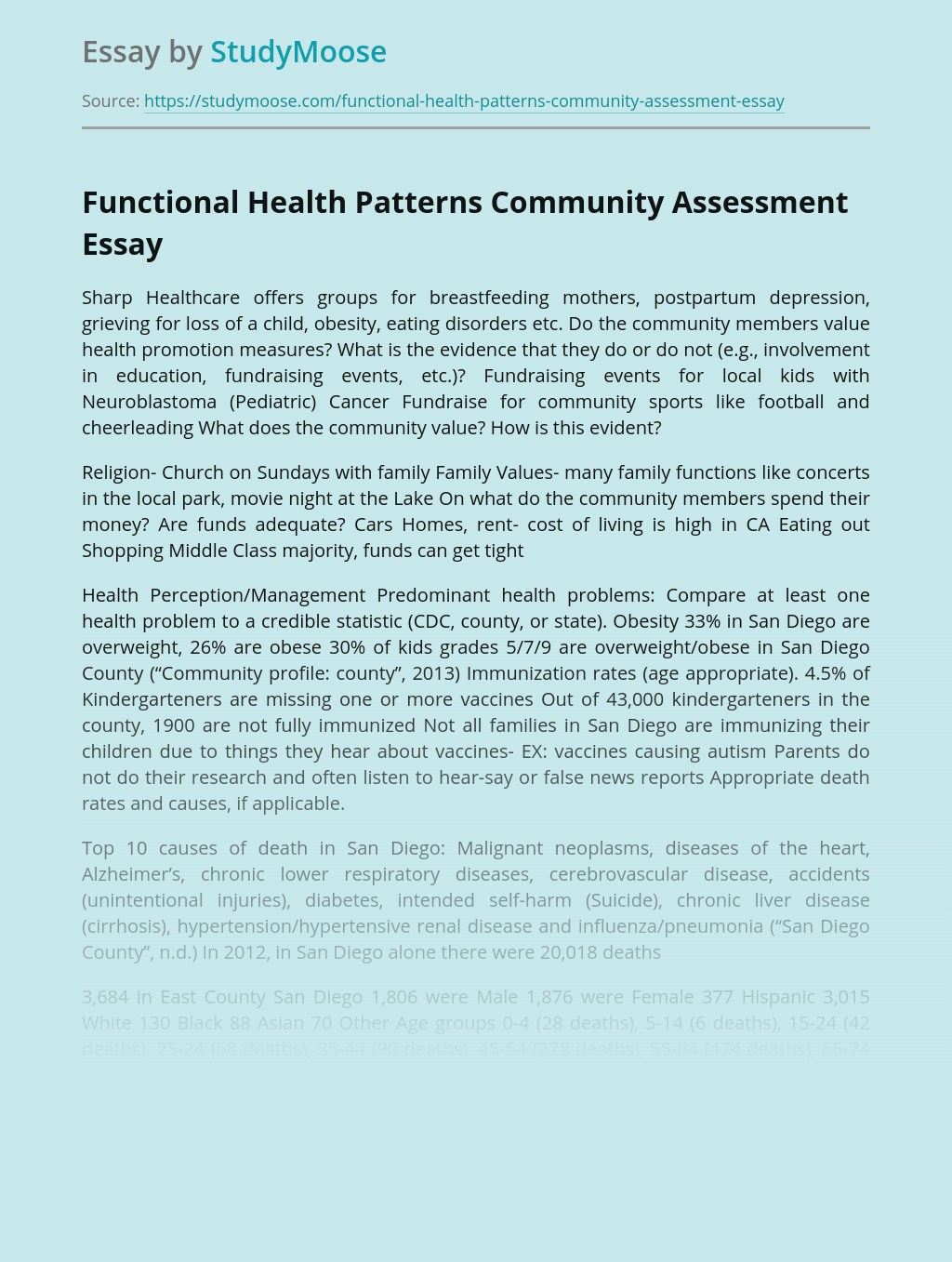 Functional Health Patterns Community Assessment