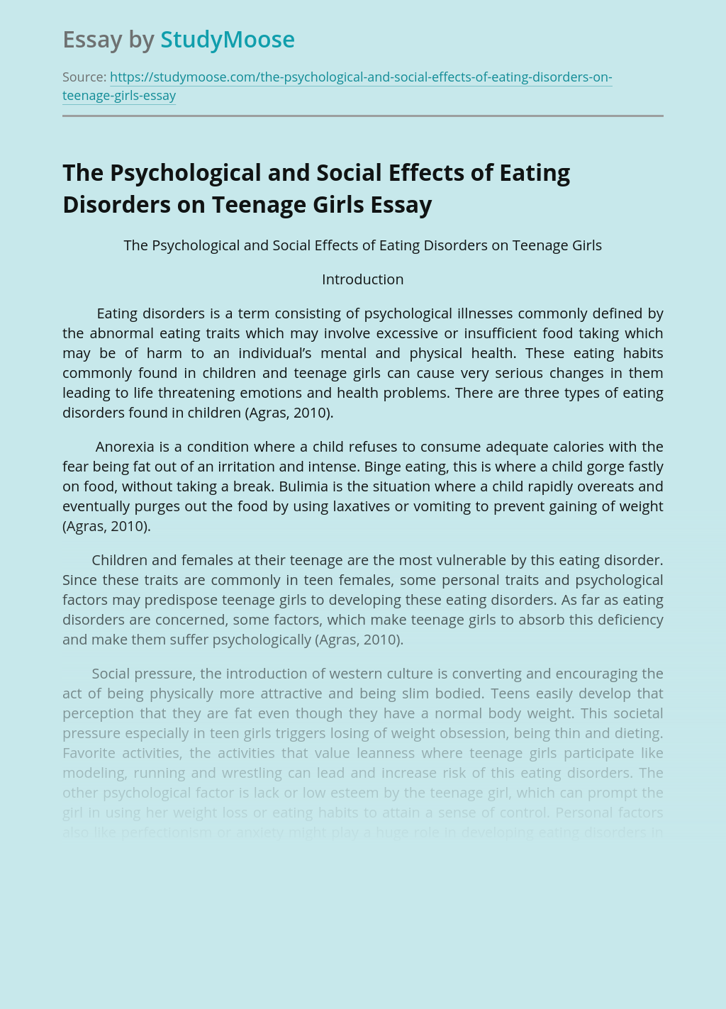 The Psychological and Social Effects of Eating Disorders on Teenage Girls