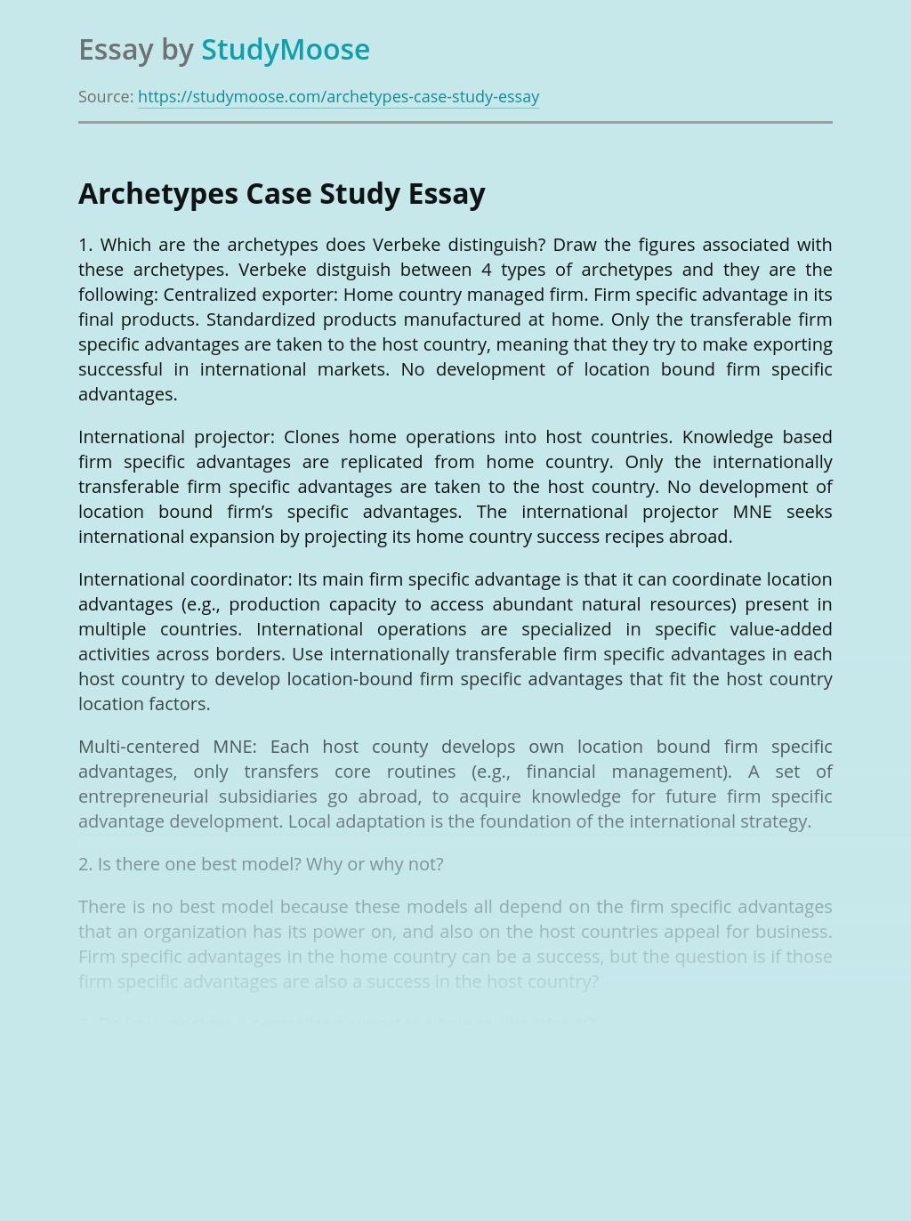 Archetypes Case Study